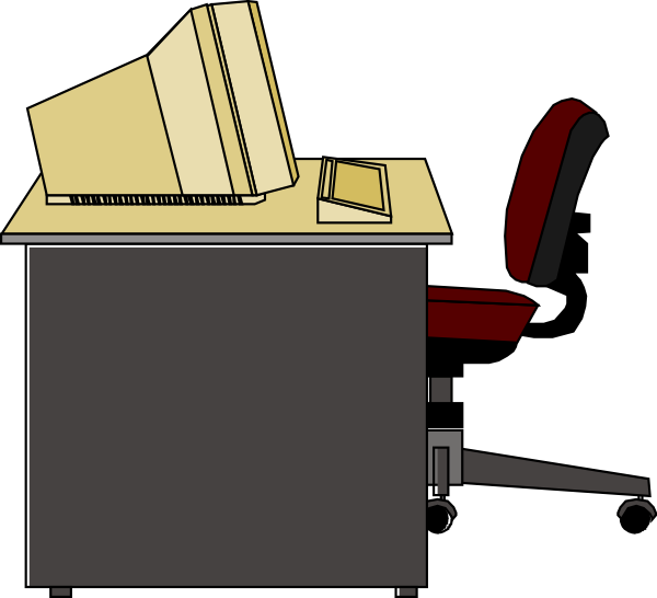 Book on desk clipart free library Computer Desk Clip Art at Clker.com - vector clip art online ... free library