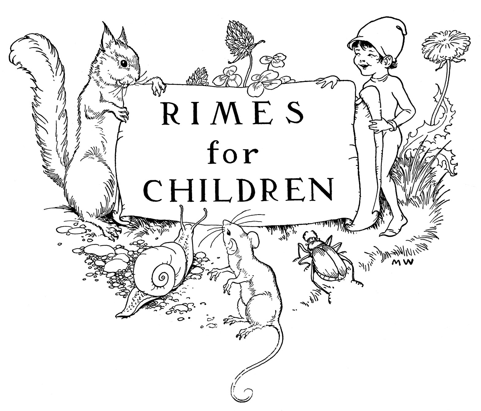 Book plate clipart picture freeuse library Vintage Clip Art - Children\'s Bookplate - Squirrel - Elf - The ... picture freeuse library