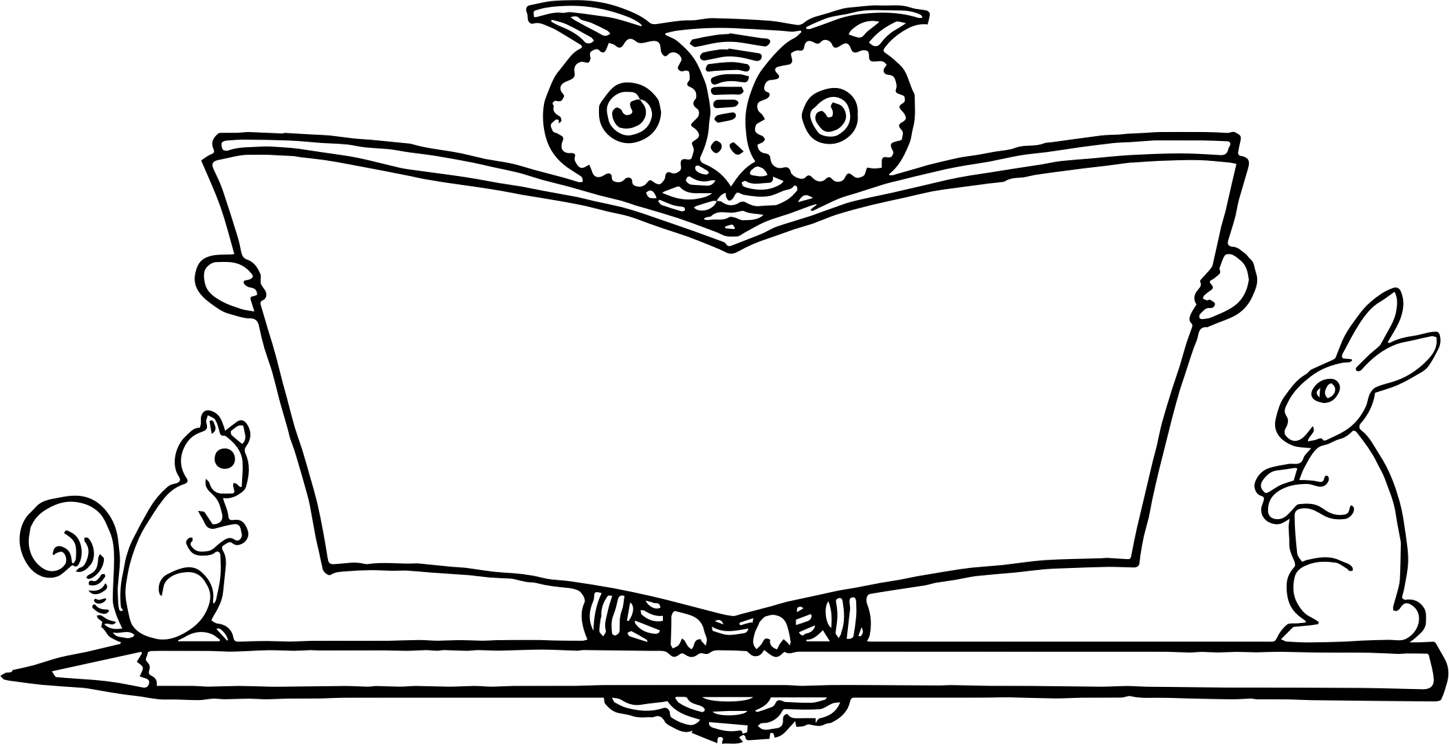 Owl book black and white clipart