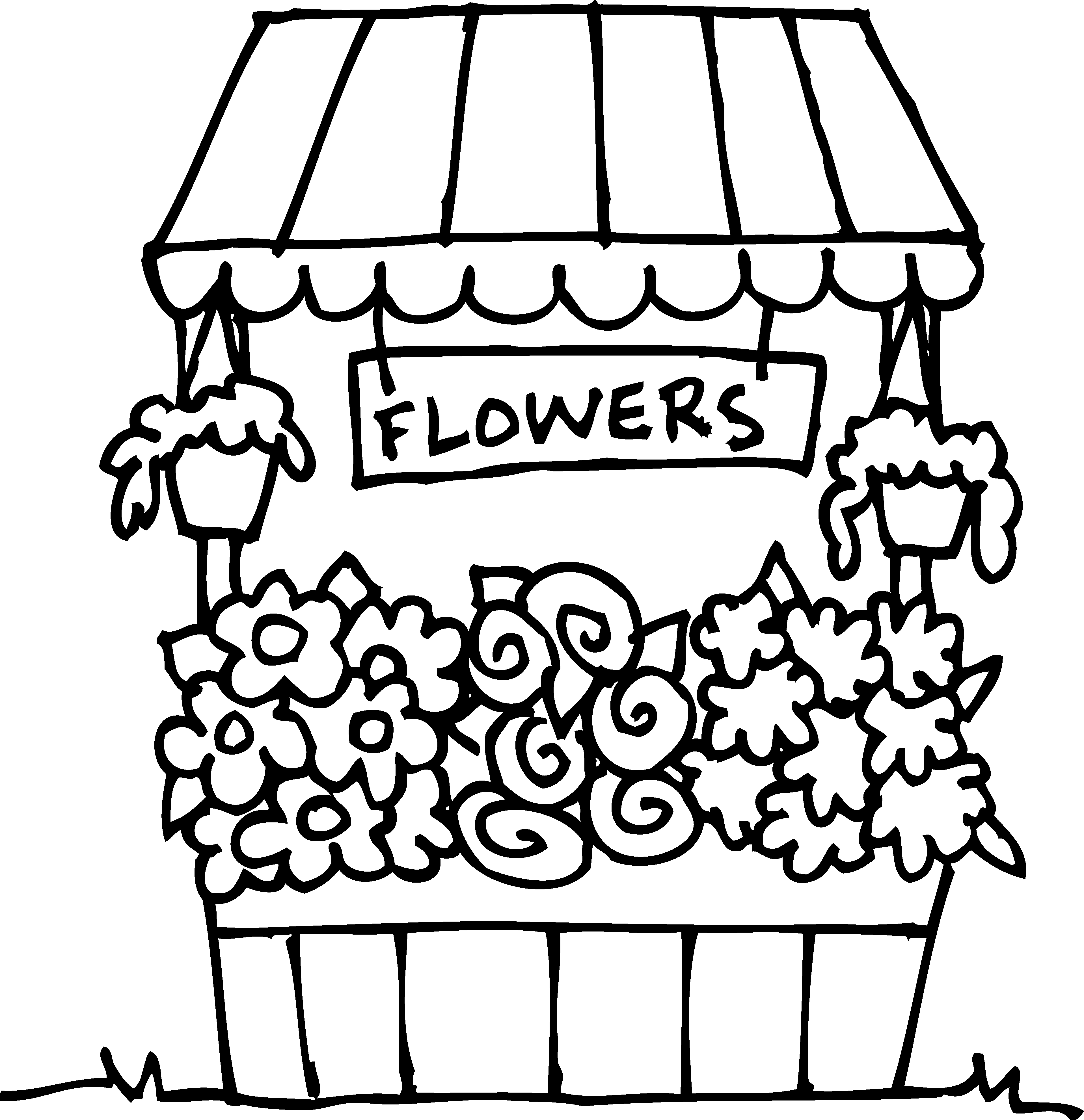 Coloring book floristry floral. Cute flower clipart black and white