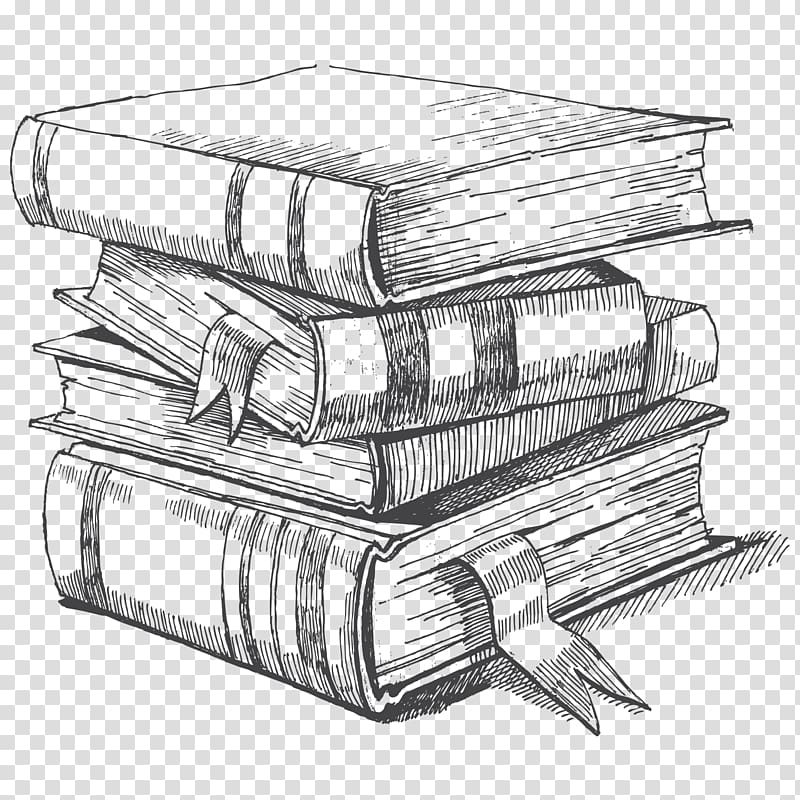 Book sketch clipart vector black and white Pile of books illustration, Drawing Book Sketch, book transparent ... vector black and white