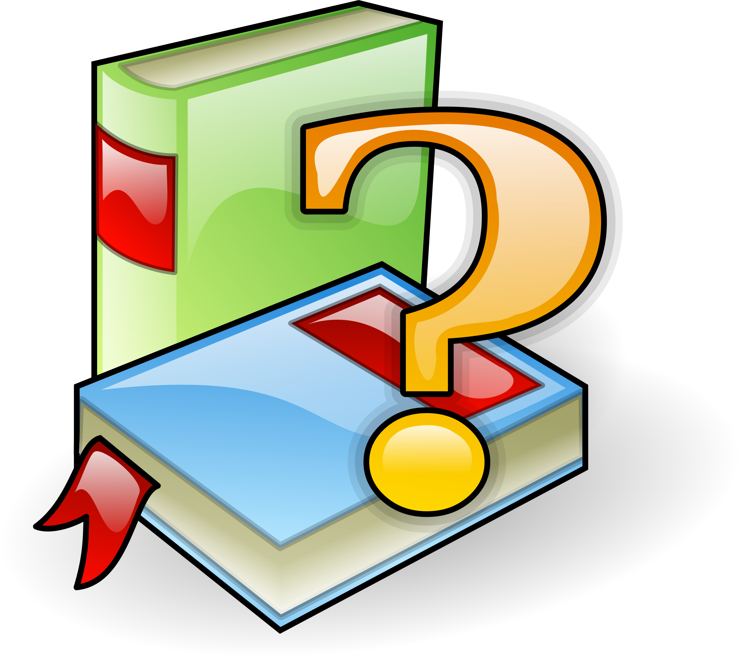 Clipart - Books with question mark svg free stock