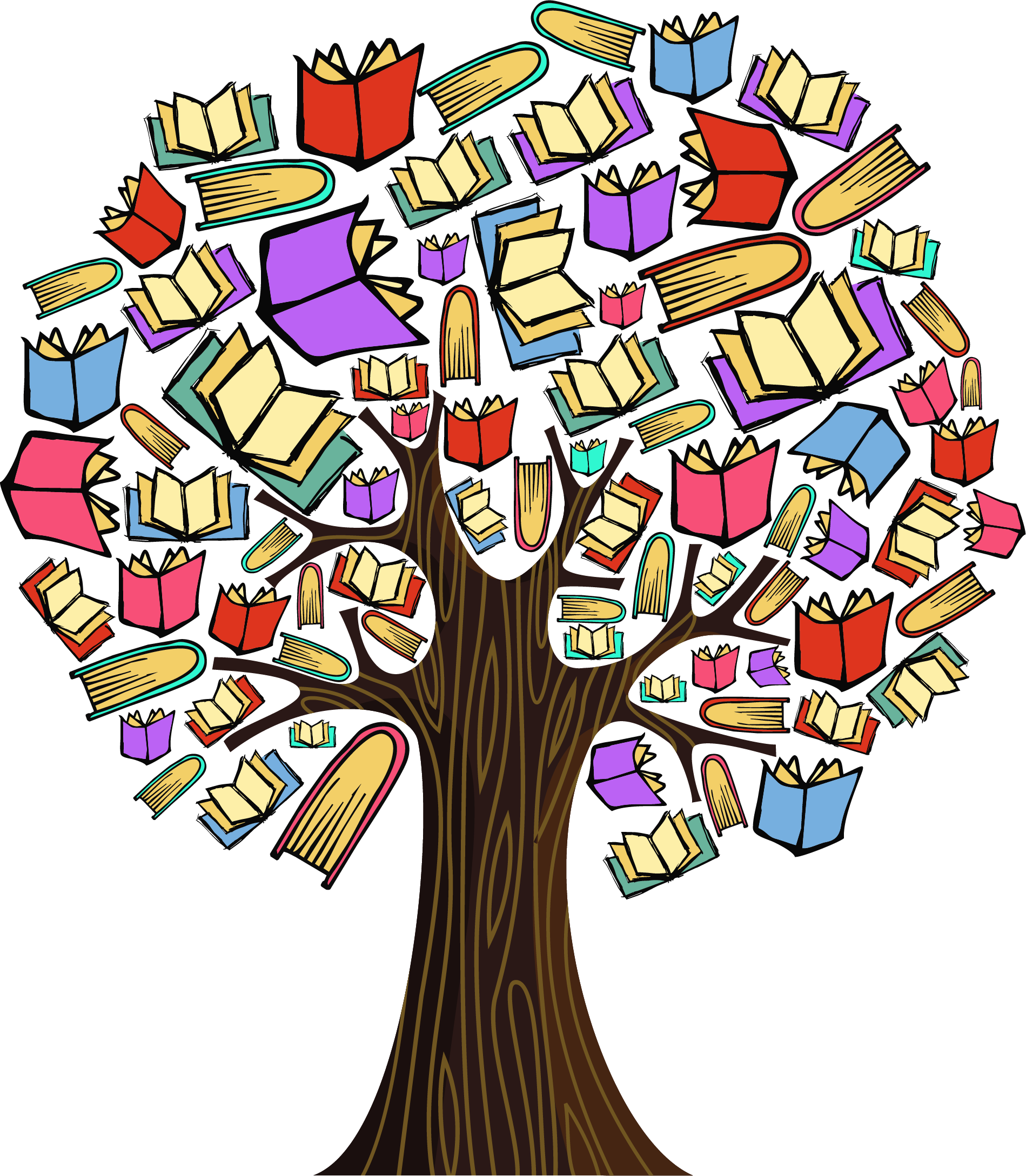 Education tree clipart picture royalty free stock Colourful Book Tree - Milk Education | Specialist Education ... picture royalty free stock