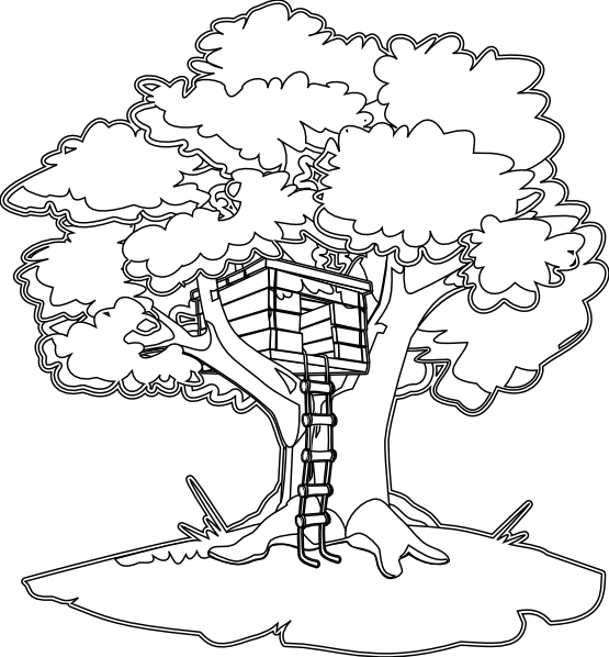 Clipart tree house black and white graphic transparent stock Tree House Black White Line Art Coloring Book Colouring 555px.png ... graphic transparent stock