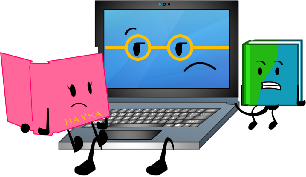 Book vs device clipart clip royalty free download Image - Who s a better book by piggy ham bacon-d9klt83.png | Super ... clip royalty free download