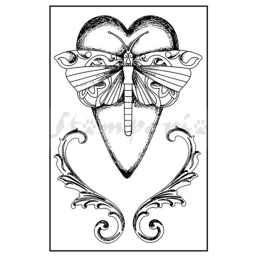 Book withdrawn stamp clipart banner transparent library Stamperia Rubber Stamp Dragonfly Heart banner transparent library