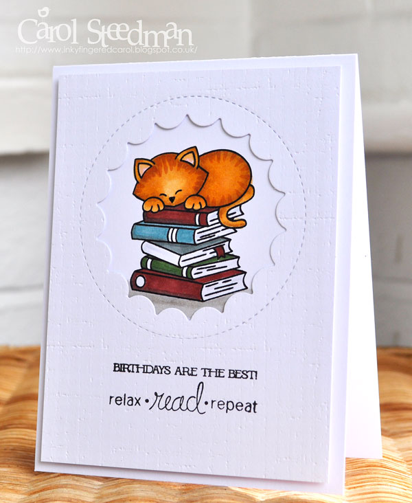 Book withdrawn stamp clipart vector freeuse stock Inky Fingers: Newton\'s Nook Cat birthday card for a book lover vector freeuse stock