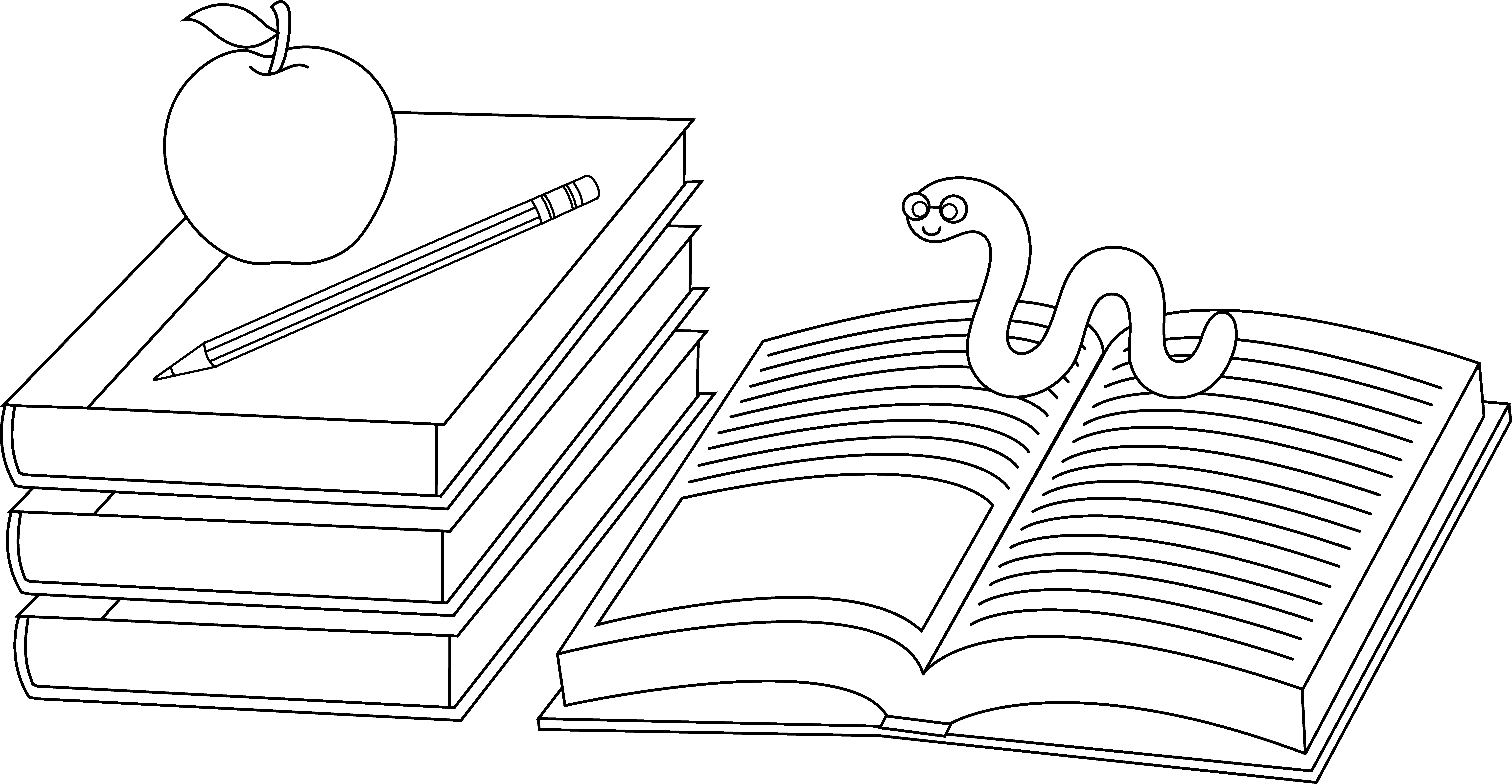 Clipart of book worm png royalty free Colorable School Books and Bookworm - Free Clip Art png royalty free