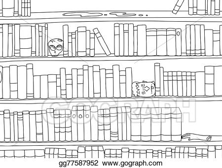 Bookend clipart picture library stock EPS Vector - Outline of bizarre bookshelf. Stock Clipart ... picture library stock