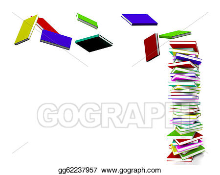 Books flying clipart svg black and white Stock Illustrations - Stack of books with some flying represents ... svg black and white