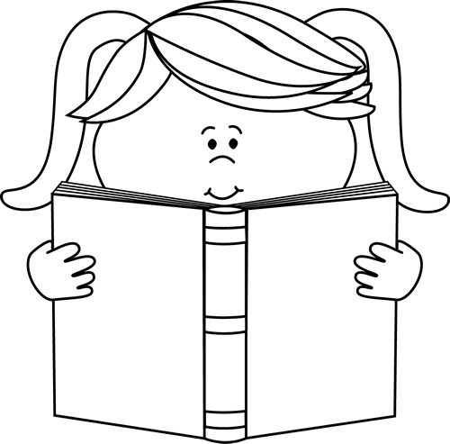 Books to read clipart black and white jpg free stock Black and White Little Girl Reading a Book Clip Art - Black and ... jpg free stock
