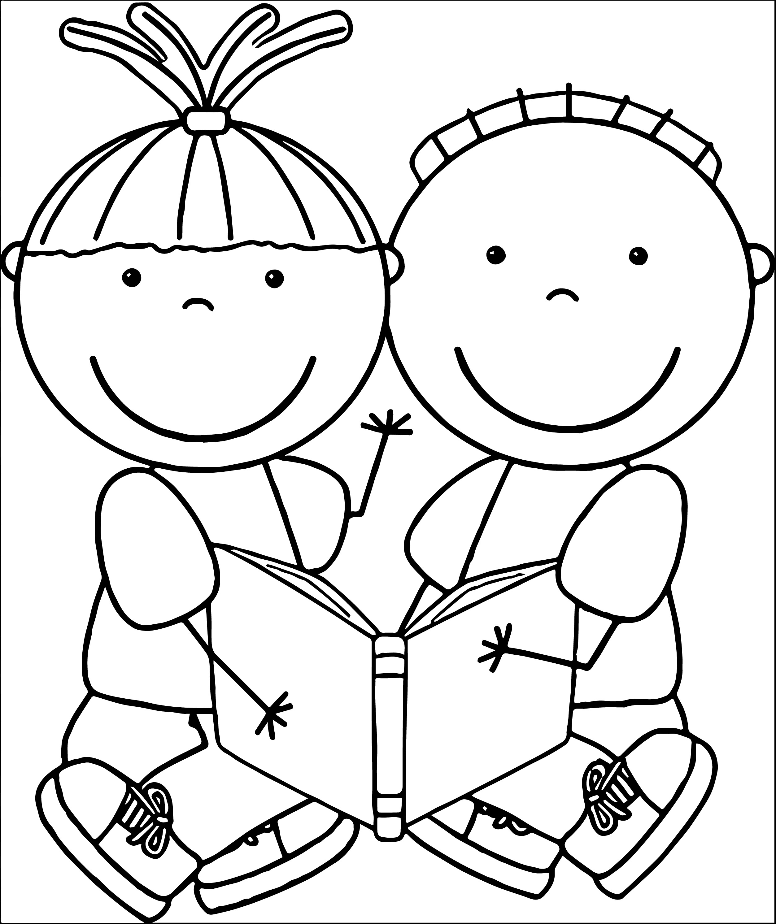 Free clipart black and white for boys. Book reading many