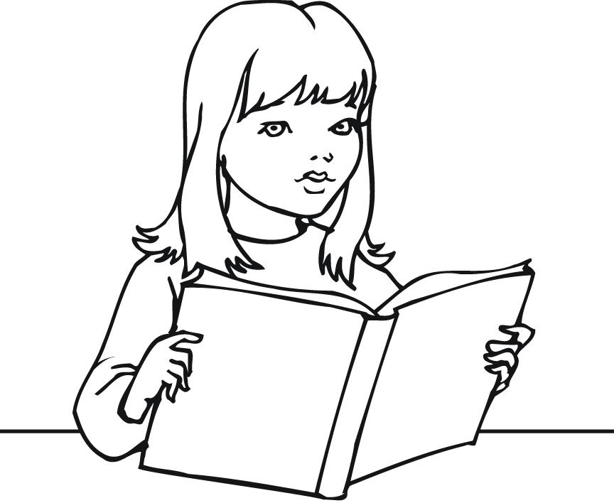 Free clipart black and white little girl reading book. Image download clip art