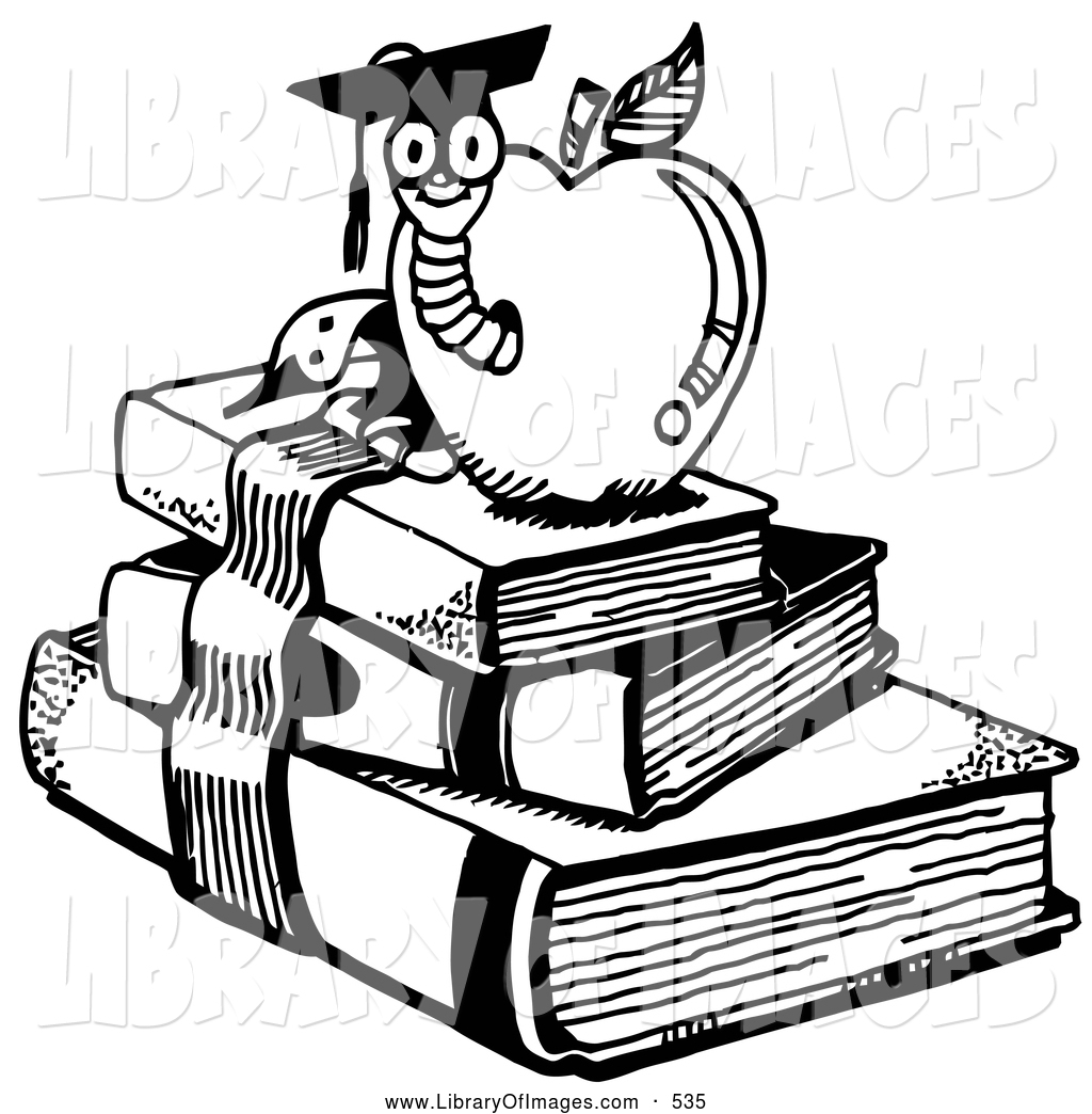 Books with apple clipart clip art royalty free download Clip Art of a School Graduate Worm Emerging from an Apple Atop ... clip art royalty free download