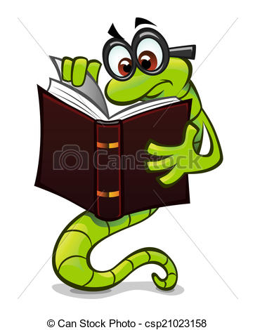 Bookworm graphics png transparent library Clipart Vector of Bookworm - Pensive green cartoon bookworm ... png transparent library