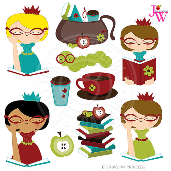 Bookworm graphics image freeuse download Bookworm Princess Cute Digital Clipart, Reading Clip Art, Books ... image freeuse download