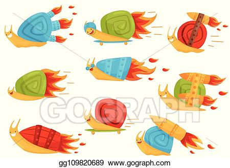 Boosters clipart graphic free Vector Illustration - Collection of funny snails with turbo speed ... graphic free