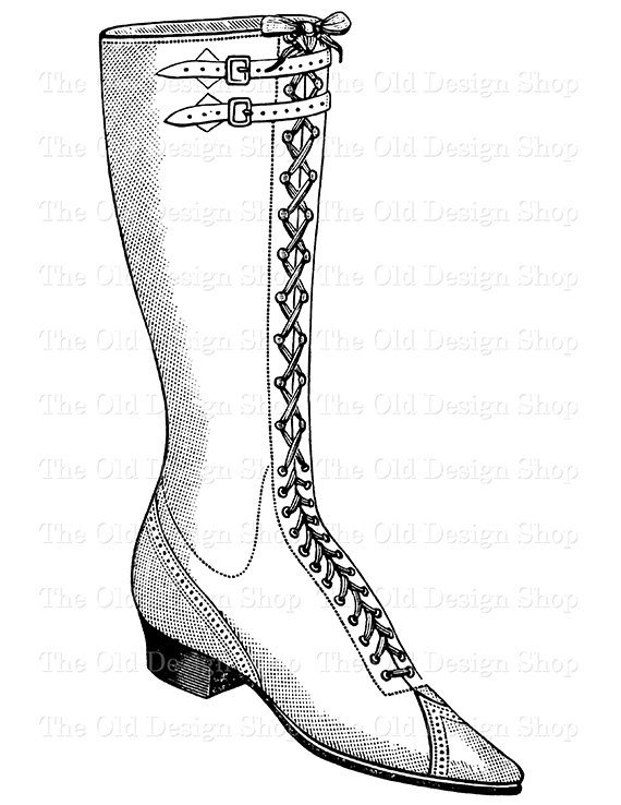 Boot laces clipart graphic stock Victorian Ladies Shoe Lace Up Boot Clip Art Printable Vintage ... graphic stock