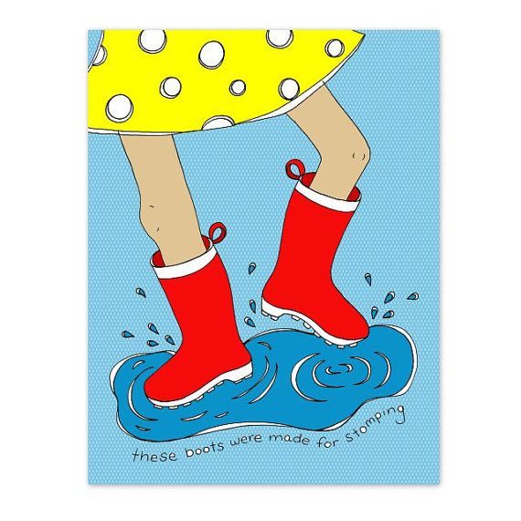 Boot stomping clipart image transparent download These Boots Were Made For Stomping 8.5 x 11 Kids Art Print - Rain ... image transparent download