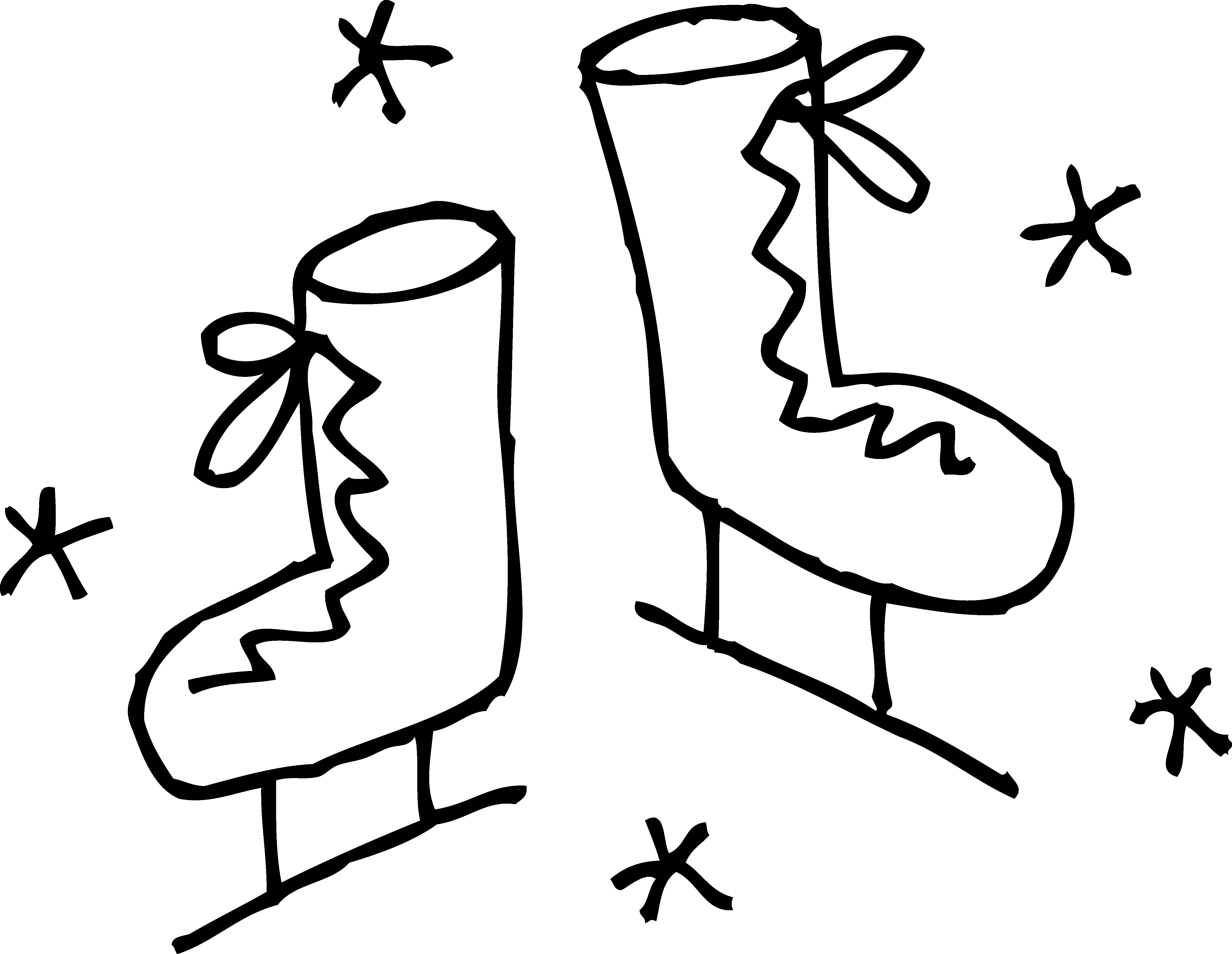 Boot with snowflake clipart png black and white download Ice Skates Coloring Page - Free Clip Art png black and white download