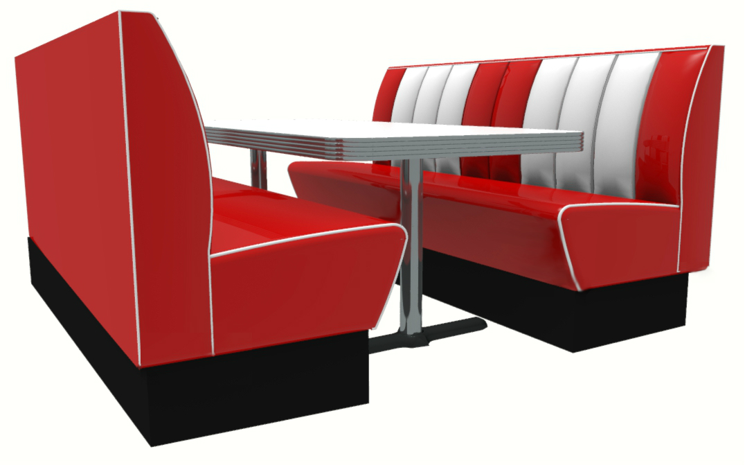 Booth seating clipart clipart royalty free download Memphis American Diner 6 Seater Retro Booth Set - Authentic Style ... clipart royalty free download