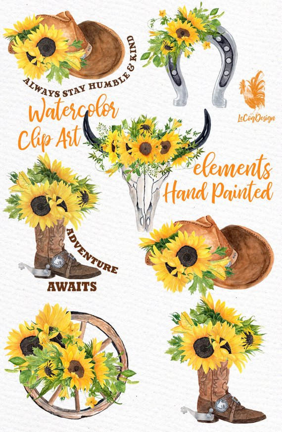 Western floral clipart royalty free Sunflower Clipart: \
