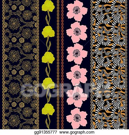 Border batik clipart clip library download Vector Stock - Set of seamless batik borders with bohemian elements ... clip library download