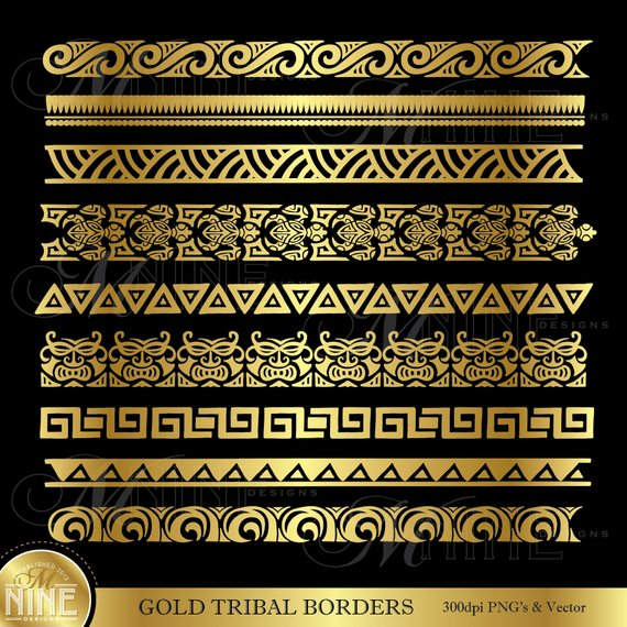 Border tattoo polynesian clipart black and white library Gold TRIBAL BORDERS Clipart / Polynesian Clipart Borders / Gold ... black and white library
