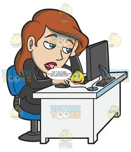 Woman working at computer desk clipart clipart A Bored Woman At Work Slumped Over Her Desk clipart