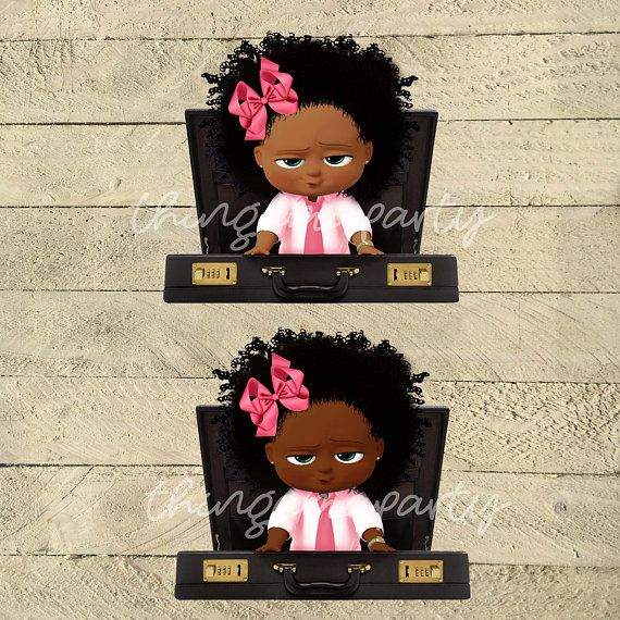 Boss baby black girl clipart png black and white stock Brief Case Pink African American Sassy Boss Baby Girl | Babies of ... png black and white stock