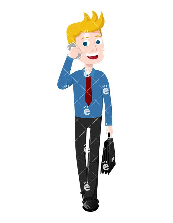 Boss on phone clipart image royalty free A Man Talking On The Phone As He Strides Down The Street | Character ... image royalty free