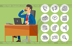 Boss on phone clipart png black and white Boss Worker Sitting in Office Talking on Phone - vector clipart png black and white