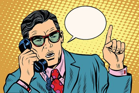 Boss on phone clipart vector free download Business Boss Talking ON The Phone, Retro Background premium clipart ... vector free download