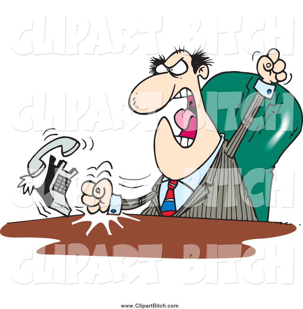 Boss on phone clipart picture library library Clip Vector Cartoon Art of a Mad White Male Boss Banging His Fists ... picture library library