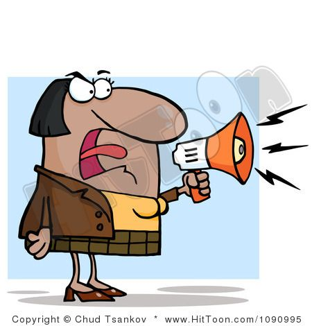 Bossy clipart banner royalty free Businesswoman Shouting Bossy Remarks Through A Megaphone | Business ... banner royalty free
