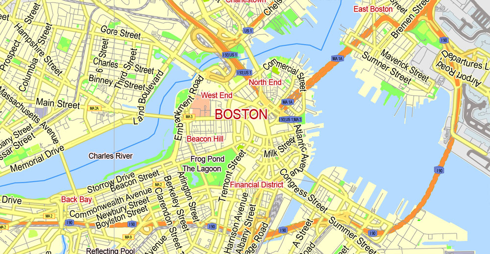 Boston map clipart banner royalty free Boston PDF Map, Massachusetts, US, exact vector street G-View Plan City  Level 13 (2000 meters scale) map, V.05.02. fully editable, Adobe PDF banner royalty free