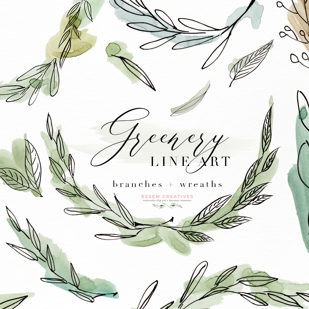 Watercolor greenery clipart image black and white library Greenery Line Art Watercolor Clipart, Olive Eucalyptus Branches, Tropical  Fine Art Botanical Ink Graphics with Watercolor Splashes image black and white library