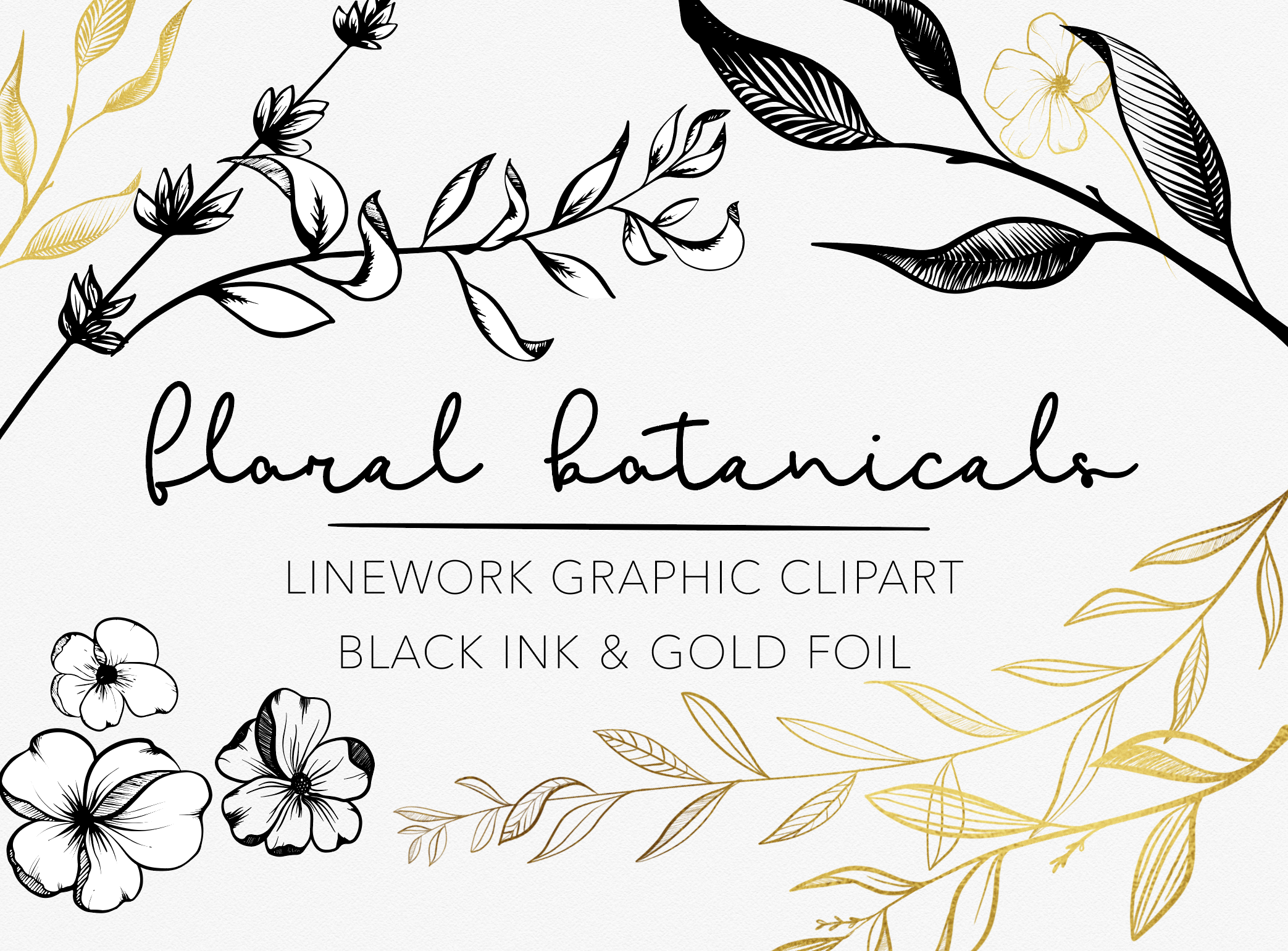 Flower ink clipart vector royalty free download Black Ink and Gold Foil Botanical Floral Linework Graphics - Vsual vector royalty free download