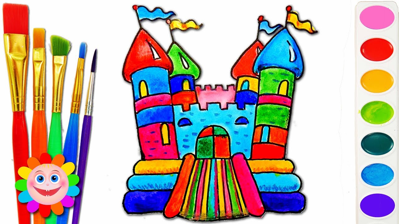 Bounce colorful clipart clip art royalty free library How to Draw Playground for Children Coloring Pages | Drawing Bouncy House  Kids Learn Colors clip art royalty free library