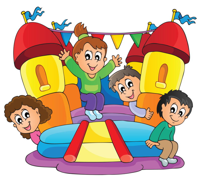 Kids playing on school playground clipart picture black and white Bounce House with slide picture black and white