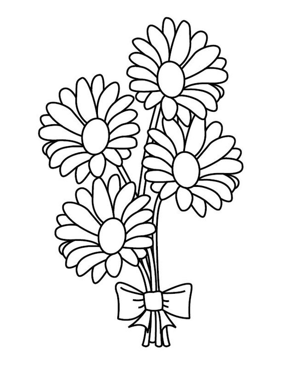 Bouquet of daisies clipart graphic library stock Daisy Bouquet Coloring Page | Products | Coloring pages, Adult ... graphic library stock