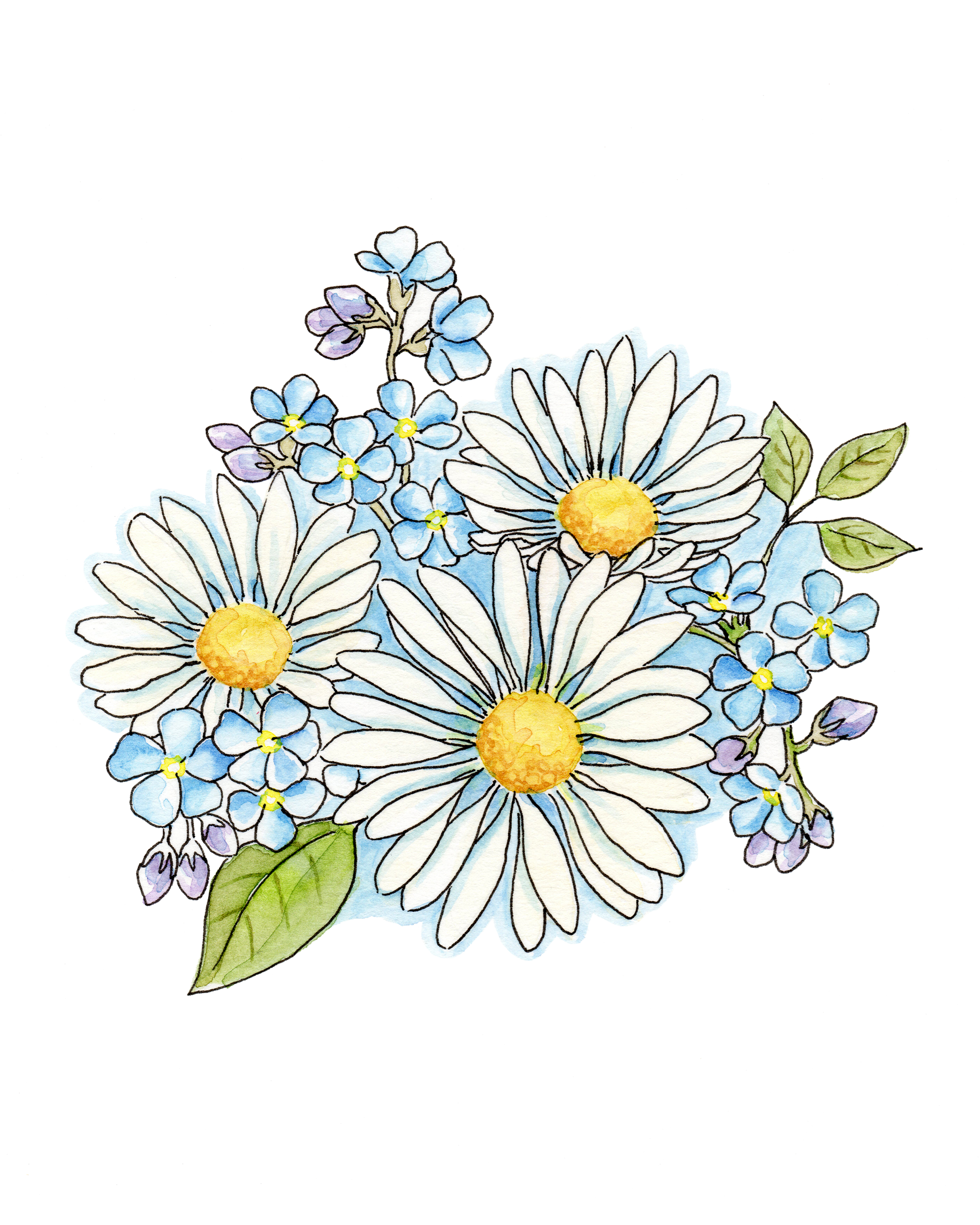 Bouquet of daisies clipart png freeuse download Daisy bouquet Watercolor, Hand painted clipart, Digital download ... png freeuse download