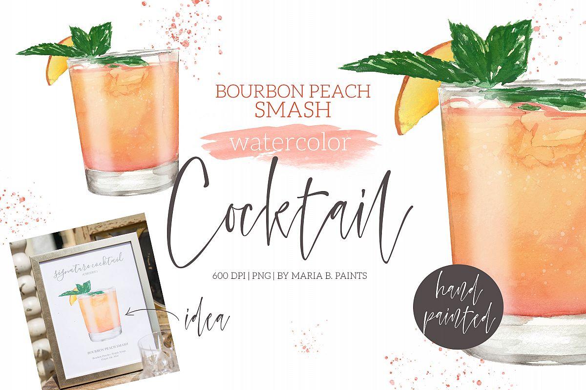 Bourbon and coke clipart image library download Bourbon Peach Cocktail Watercolor Clipart Illustration image library download