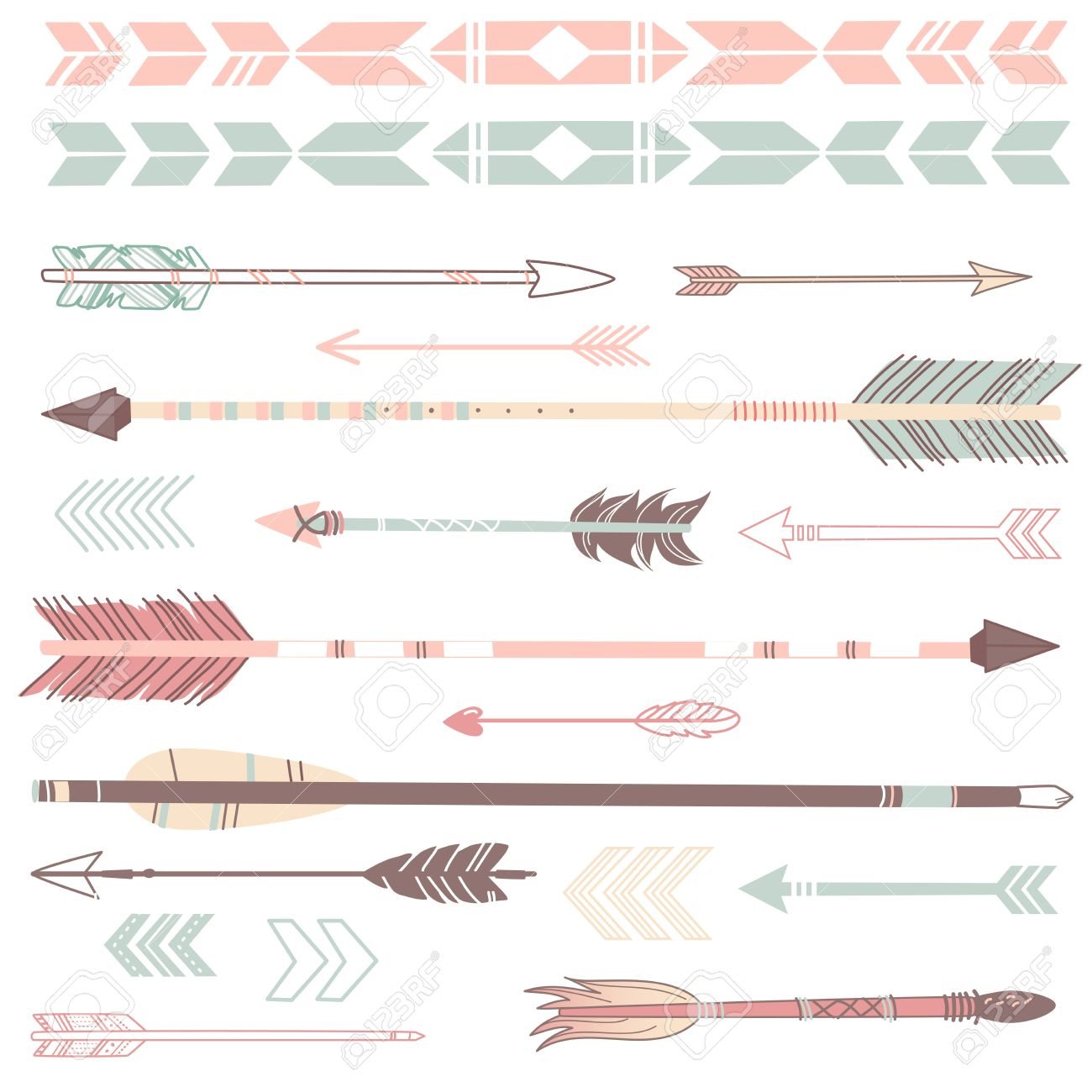stock vector illustration. Bow and arrow cute clipart