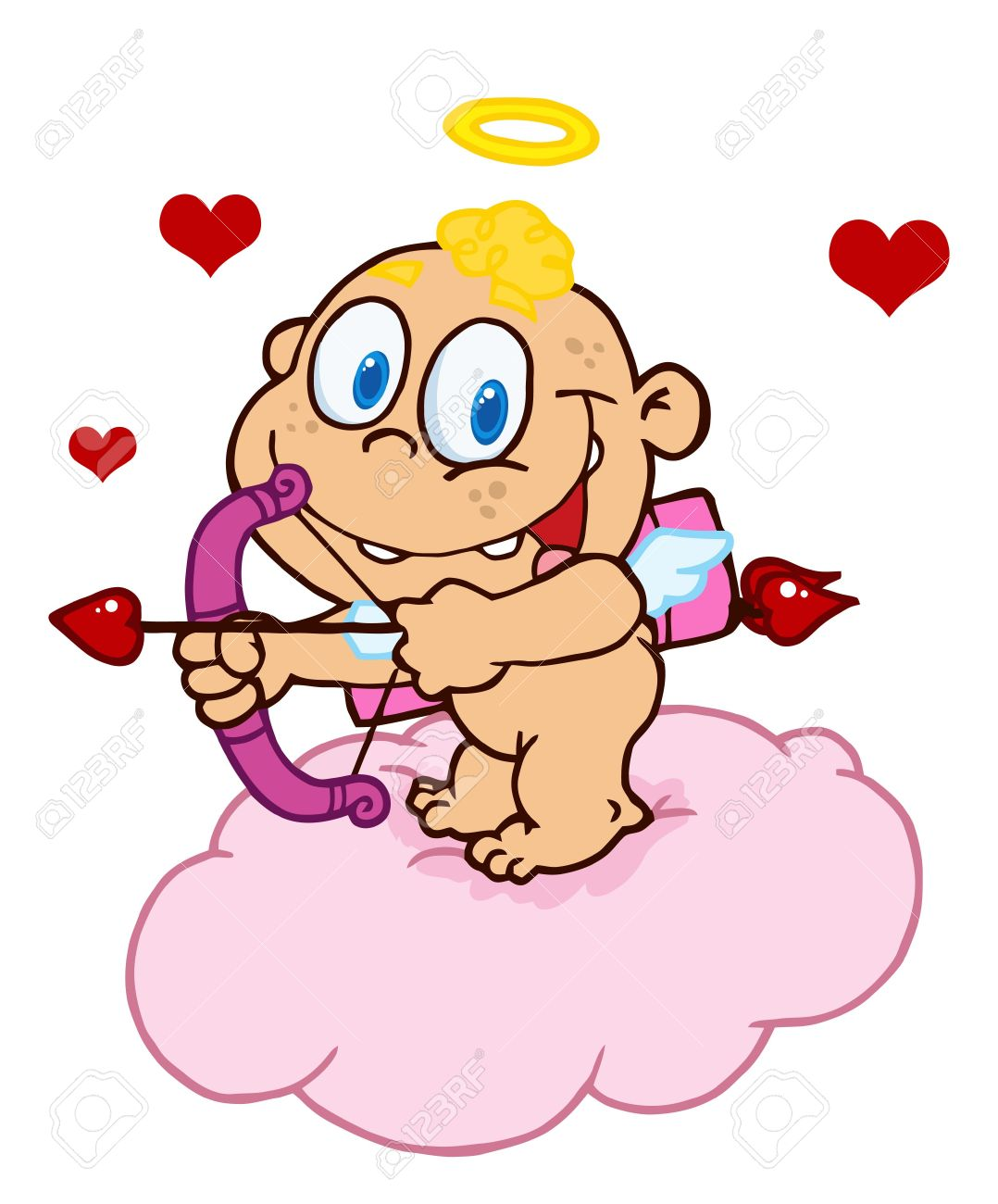 Cupid with flying hearts. Bow and arrow cute clipart