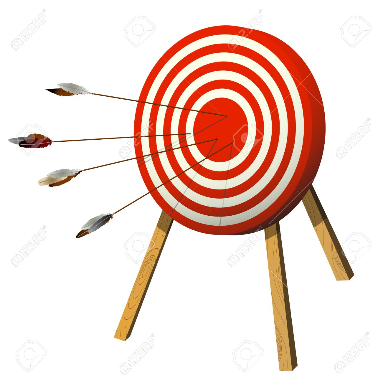 Arrows with isolated objects. Bow and arrow target clipart