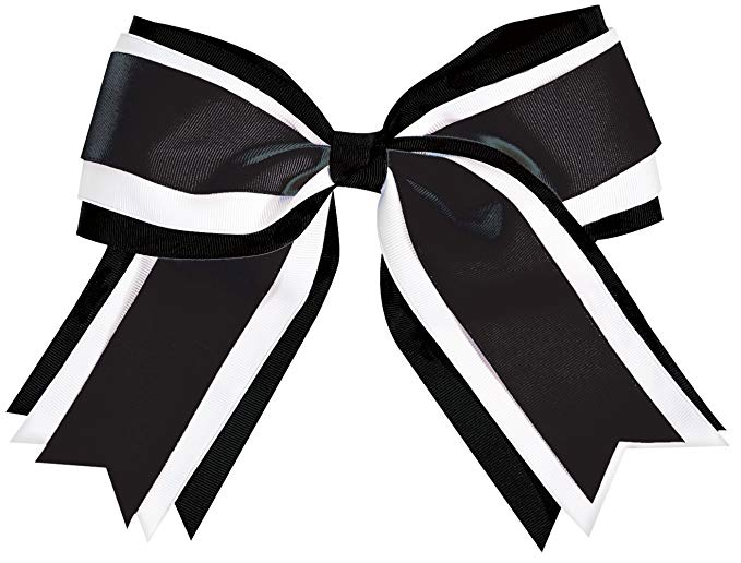 Bow with tails clipart black and white jpg transparent library Jumbo 3 Color Cheer Hair Bow jpg transparent library