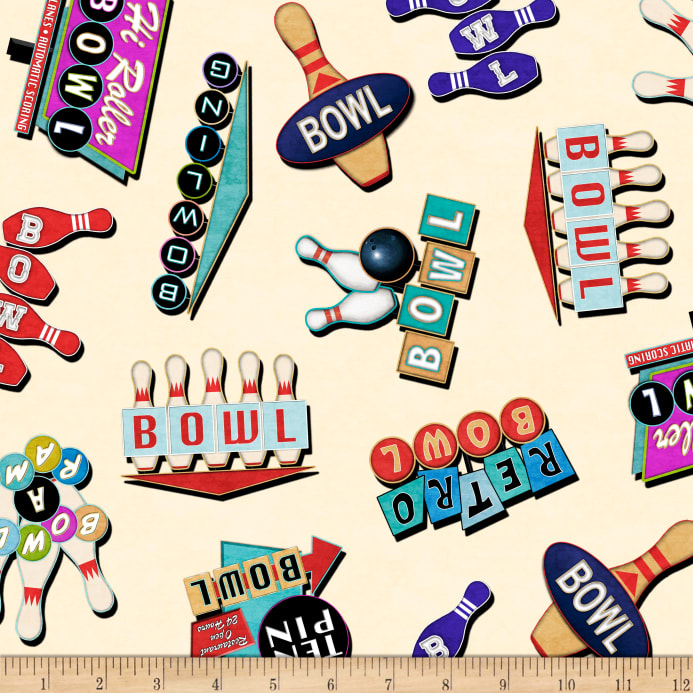 Bowl-a-rama clipart picture black and white stock QT Fabrics Bowl-A-Rama Retro Bowling Signs Cream Fabric picture black and white stock