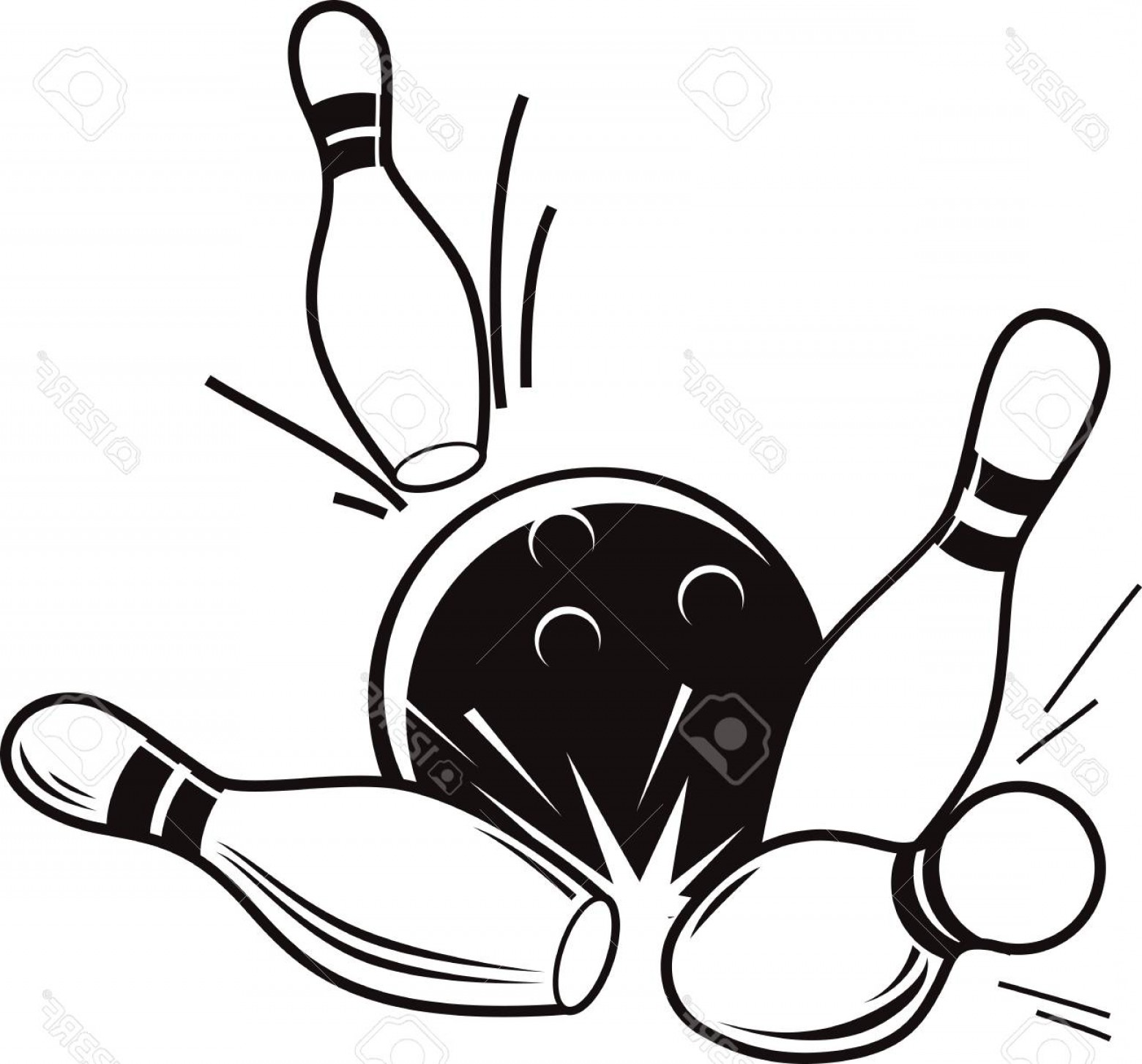 Bowling ball and pins black and white clipart clip art royalty free download Photostock Vector Vector Black And White Illustration Of Bowling ... clip art royalty free download