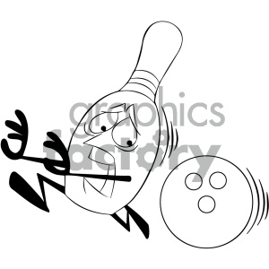 Bowling ball with flames and pins clipart black and white clip transparent black and white cartoon bowling pin mascot character being chased by  bowling ball clipart. Royalty-free clipart # 404198 clip transparent